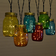 Canning Jar String Lights : Green Canning Jar String Lights - Battery Operated
