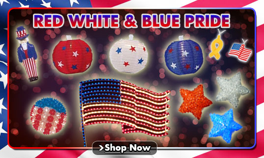 Red White and Blue Party String Lights