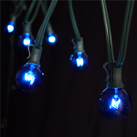 Blue Lantern String Lights : 100 Foot Green Wire Blue Globe Light String