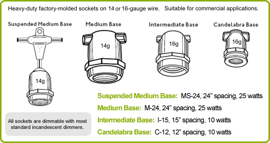 Commercial Grade Linear Light String Sockets