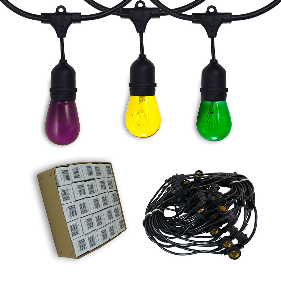 Led Mardi Gras String Lights : Mardi Gras Commercial String Lights - 48 Foot Suspended