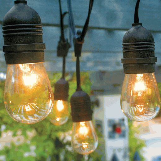 Patio String Lights - Commercial Grade 54' Supsended - Black AIS-2448BKS