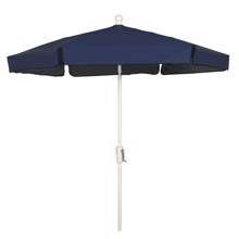 Navy Blue Canopy Hexagon Garden Umbrella - White Finish
