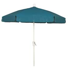 Teal 7-1/2' Hex Garden Umbrella - White Finish