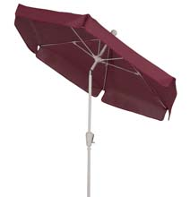 Burgundy Tilt Garden Umbrella - White Finish