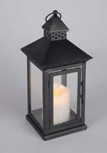 LED Metal & Resin Flameless Candle Black Square Lantern