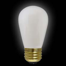 White Ceramic S14 Medium Base Light Bulb - 11 Watt