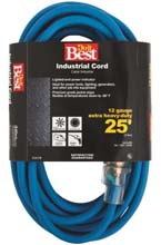 25' Cold Temperature Extension Power Cord - 12/3 - Blue