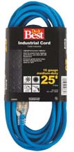 25' Cold Temperature Extension Power Cord - 16/3 - Blue