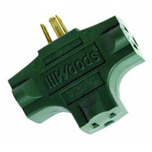 Woods [ADAPTER-GR] Heavy-Duty 3 Tap Grounded Outlet