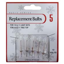 Clear Regular Replacement Light Bulb - 12V - 5 Lights