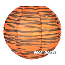 "Tiger Striped Paper Lantern - 14"" Dia."