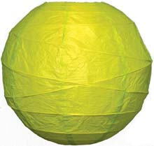 "Chartreuse Green 14"" Round Rice Paper Lantern"