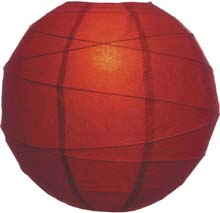 "Cinnamon Red 14"" Round Rice Paper Lantern"