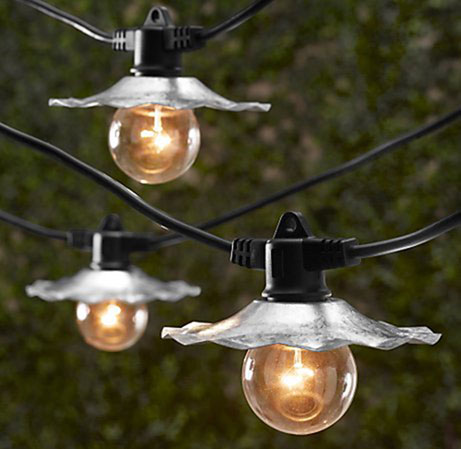 galvanized cafe string light shades