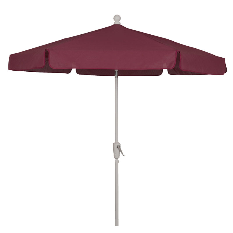Burgundy Canopy 7.5' Hexagon Garden Umbrella - White Finish