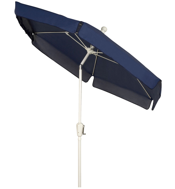 Navy Blue Tilt Garden Umbrella - White Finish