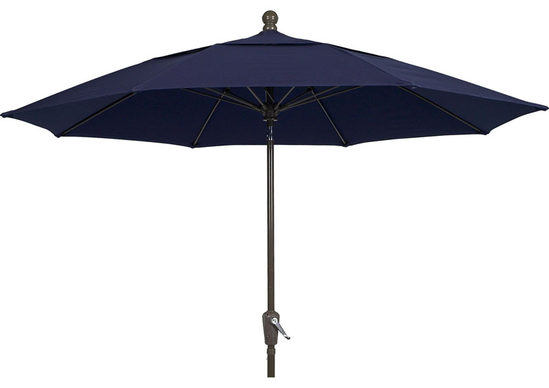 Navy Blue Canopy 9 Octagon Patio Crank Umbrella Bronze