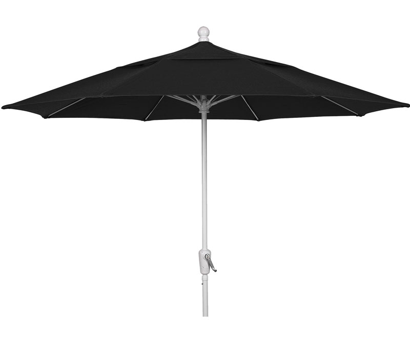 9' Black Patio Umbrella - White Finish - Crank Lift FB-9HCRW-BLACK