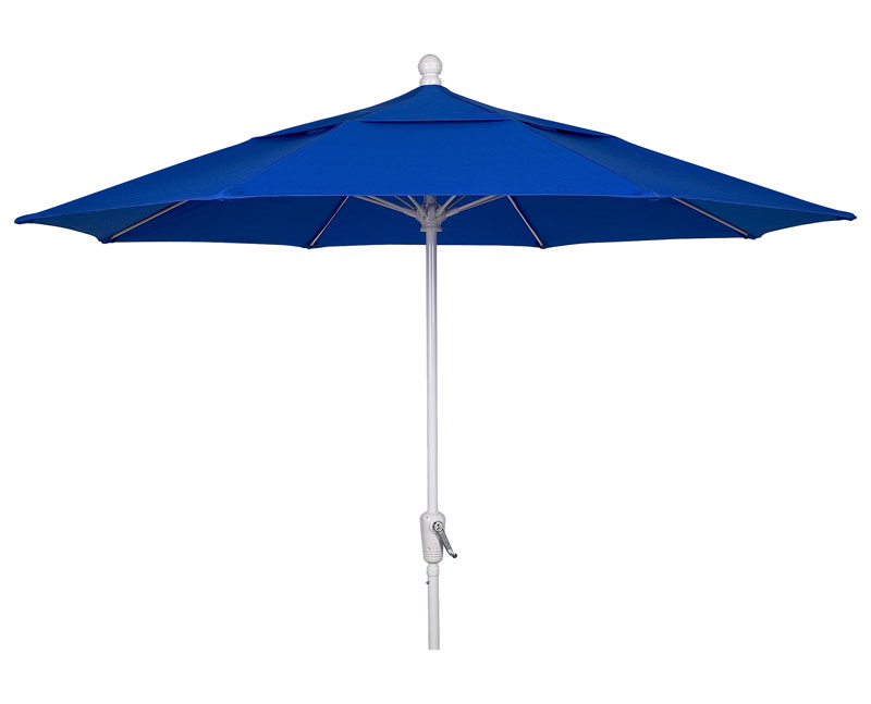 9' Pacific Blue Patio Umbrella - White Finish - Crank Lift FB-9HCRW-PACIFIC