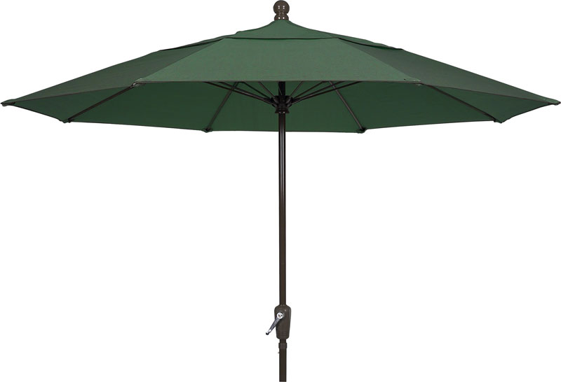 7.5' Forest Green Terrace Umbrella - Bronze Finish - Crank Lift FB-7TCRCB-FGREEN