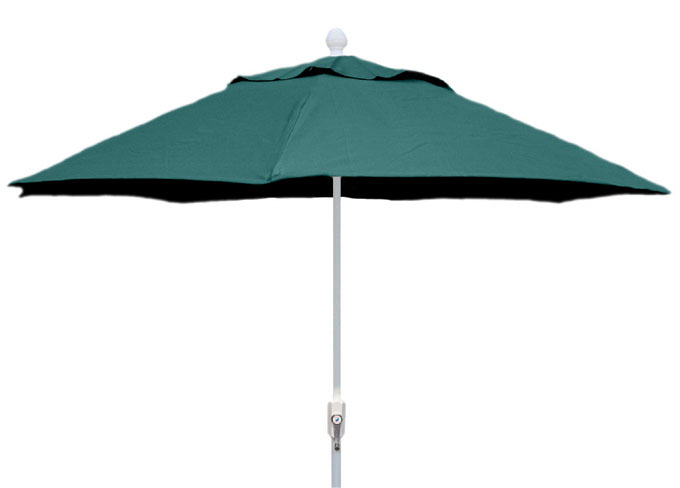 7.5' Forest Green Terrace Umbrella - White Finish - Crank Lift FB-7TCRW-FGREEN