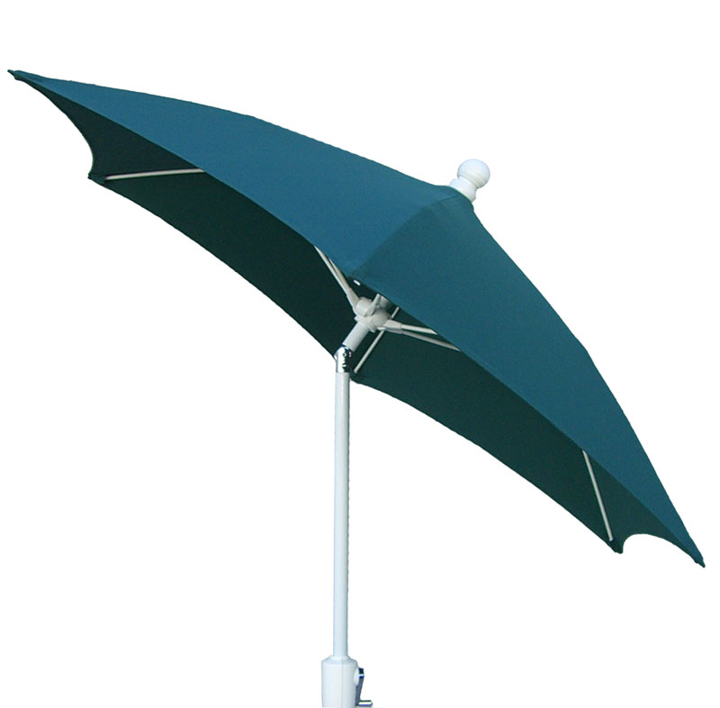 7.5' Forest Green Tilt Terrace Umbrella - White Finish - Crank Lift FB-7TCRW-T-FGREEN