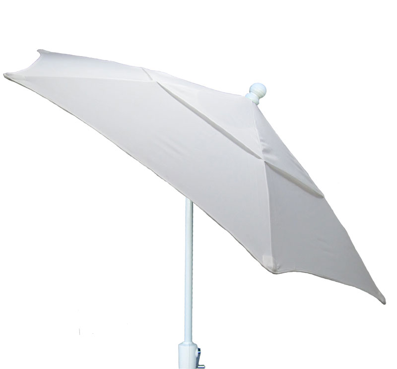 7.5' Natural Tilt Terrace Umbrella - White Finish - Crank Lift FB-7TCRW-T-NATURAL
