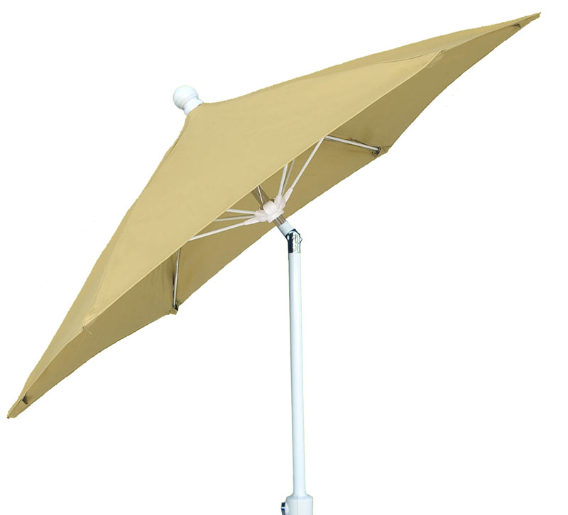 9' Beige Tilt Terrace Umbrella - White Finish - Crank Lift FB-9TCRW-T-BEIGE