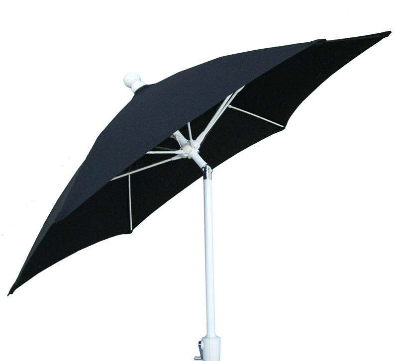 9' Black Tilt Terrace Umbrella - White Finish - Crank Lift FB-9TCRW-T-BLACK