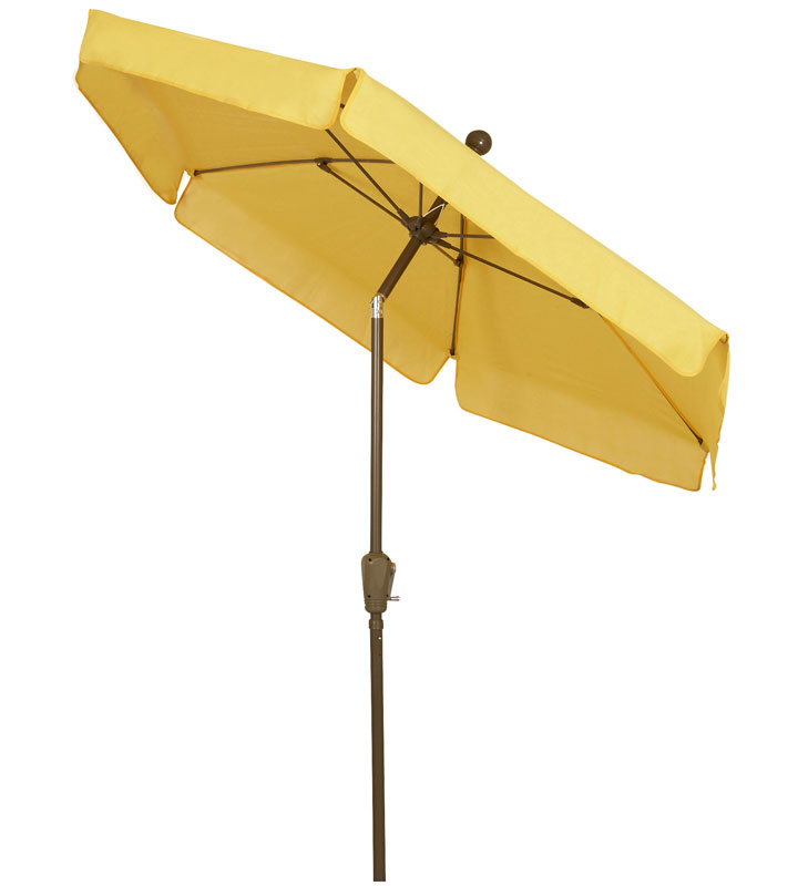 Garden Tilt Yellow Canopy Umbrella - Bronze Finish