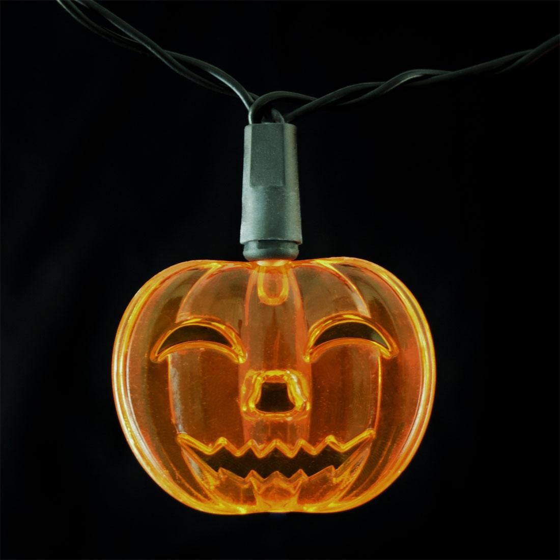Pumpkin LED String Lights - Battery Operated - 10 Lights