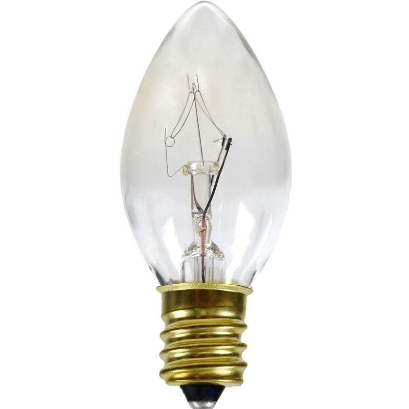 Clear C7 Candelabra Base Light Bulbs - 7 Watt