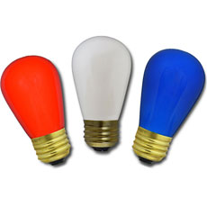 Red, White & Blue Light Bulbs