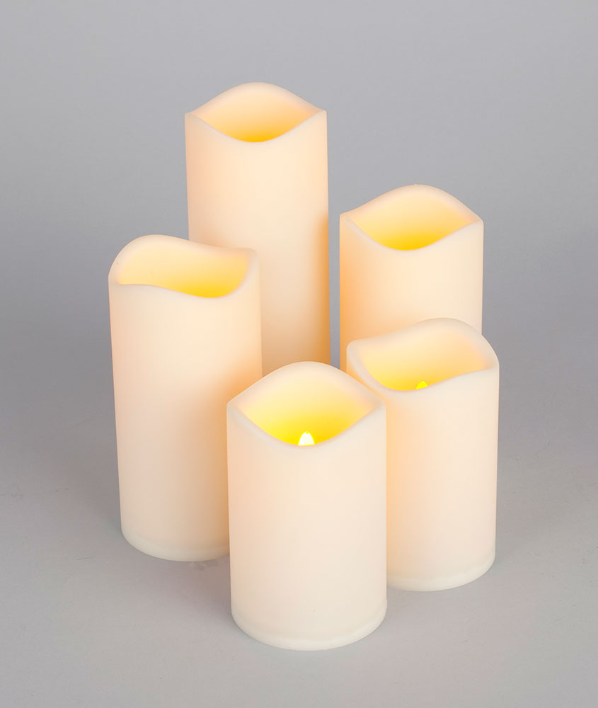 LED Battery Operated Flickering Flame Round Pillar Candle Set