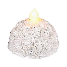White Rose LED Tea Light Flameless Candle Set