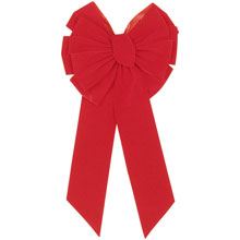 "11-Loop Red Velvet Christmas Bow - 14"" x 28"" - 12 Pack 904228"