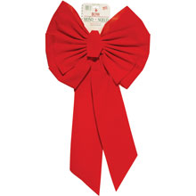 "11-Loop Red Velvet Christmas Bow - 18"" x 35"" - 12 Pack 900005"