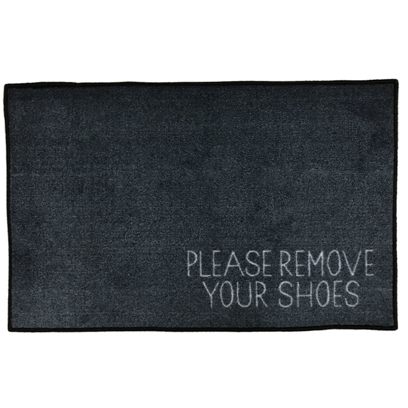 Lovely Please Remove Your Shoes Message Doormat - Grey NH82