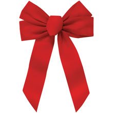 "5-Loop Red Velvet Christmas Bow - 11"" x 16"""