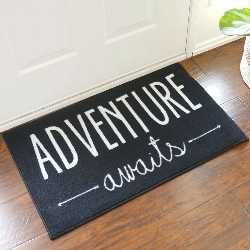 2' x 3' Adventure Awaits Black Door Mat