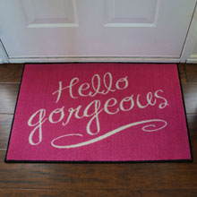 Pink Hello Gorgeous Welcome Novelty Door Mat