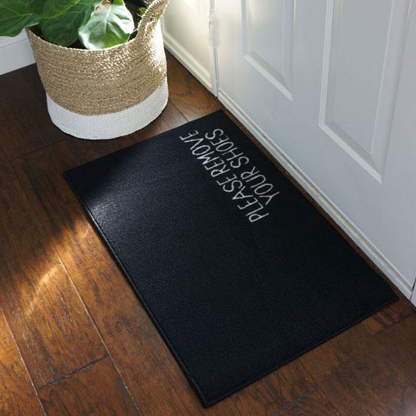 Please Remove Your Shoes Message Doormat Black