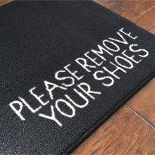 Please Remove Your Shoes Message Door Mat - Black