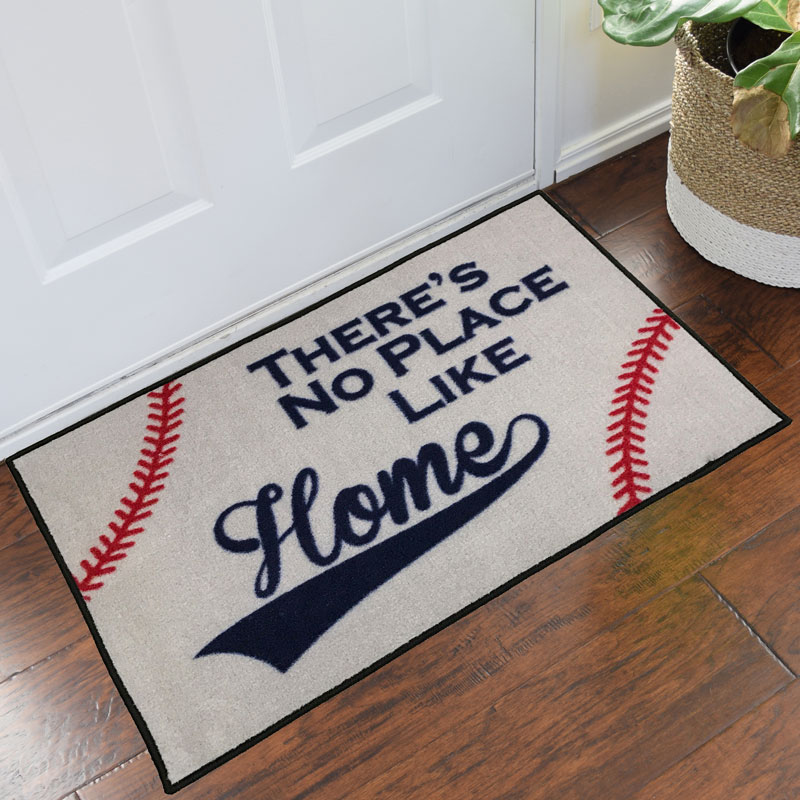There's No Place Like Home Baseball Novelty Welcome Mat
