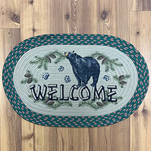 "Welcome BEAR Braided Rug 26"" x17""                            EG2524"