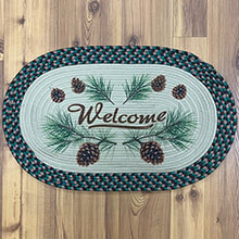 "Welcome PINE CONES Braided Rug - 26'x17""                     EG2523"