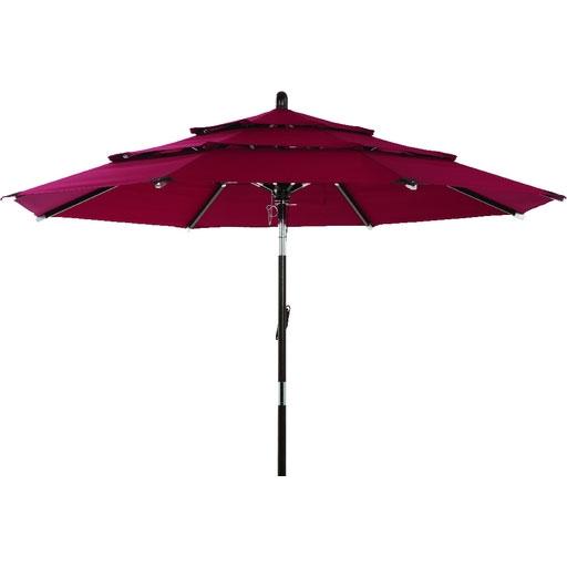 3 Tier Tilt Patio Umbrella Burgundy Canopy