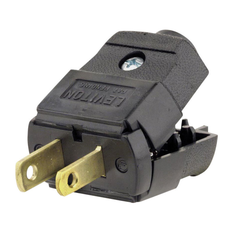Leviton 2-Wire 2-Pole Hinged Cord Plug - Black