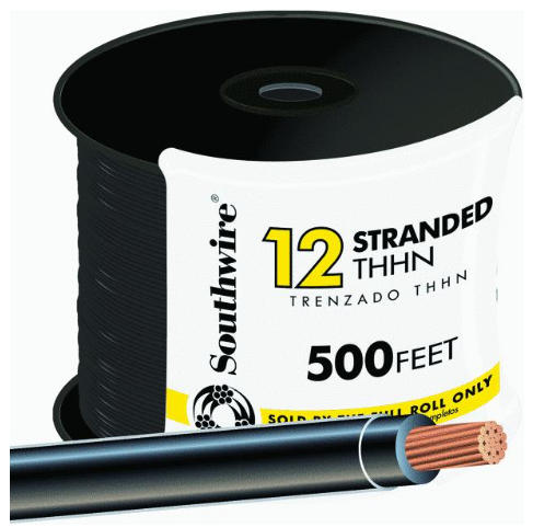 12-gauge THHN Stranded Wire - 500' black